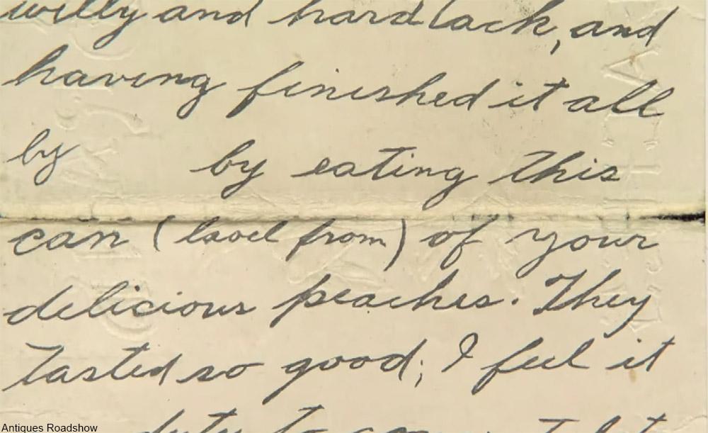 handwritten letter on peach label wwi
