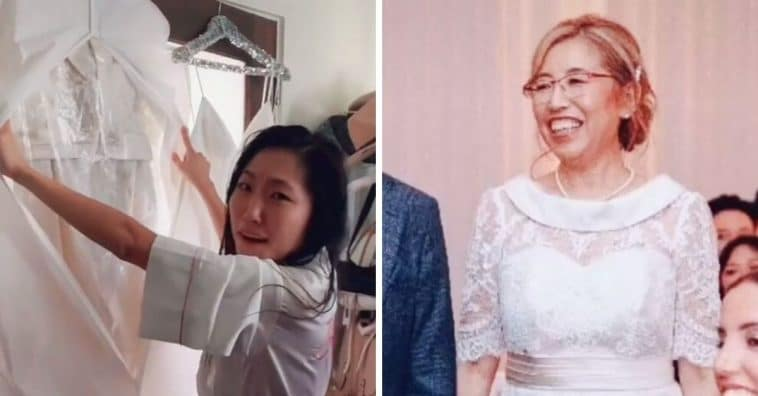 Brides mother wears a white wedding dress to her wedding