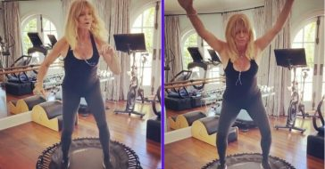 Goldie Hawn Sports Black Tank & Leggings For _Physical_ Trampoline Workout