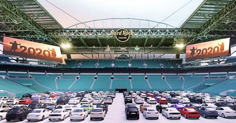 Hard Rock Stadium will become a drive in this summer
