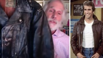 Henry Winkler shows off Fonzie leather jacket from Happy Days