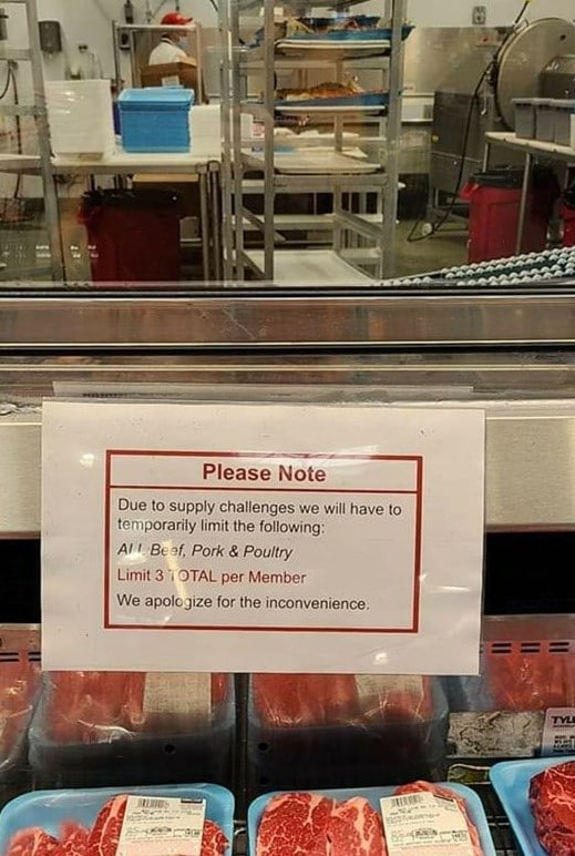 costco meat limit sign