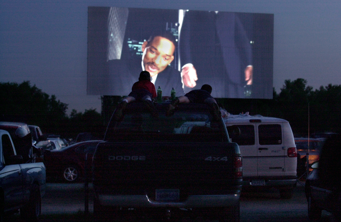 restaurants utilizing parking lots for drive-in movie theater