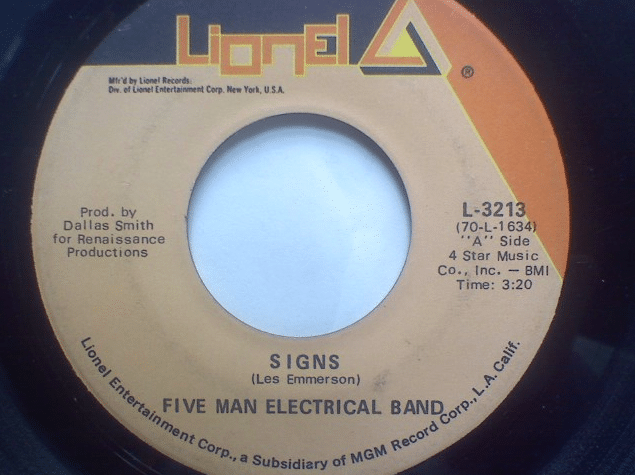 """signs"" by five man electrical band political"