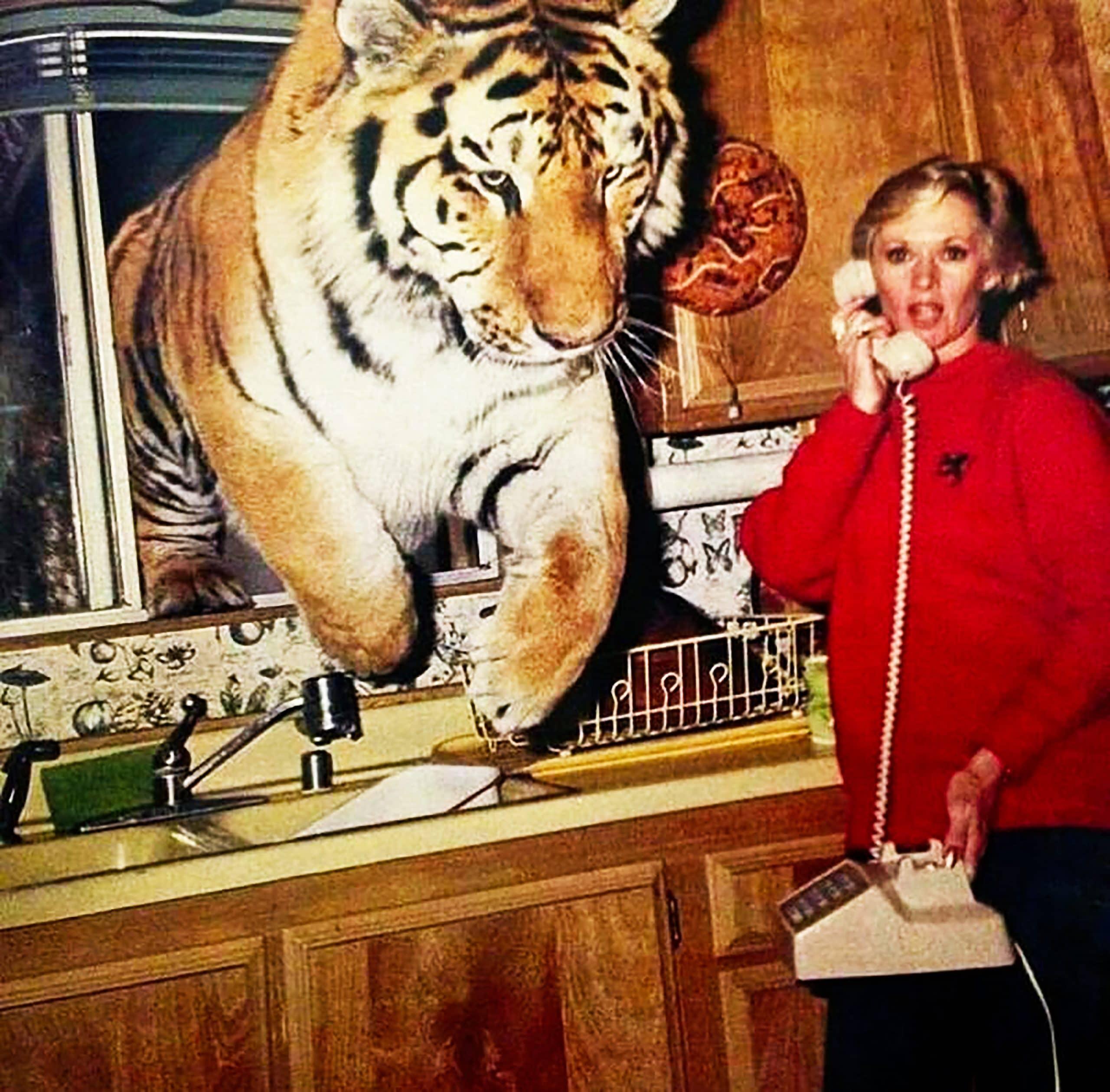 tippi hedren in her kitchen with a tiger
