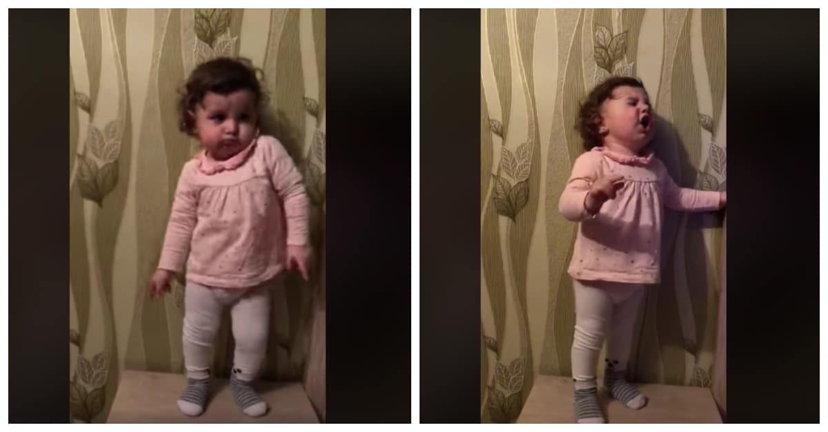 toddler dances to 50s rock music in adorable video