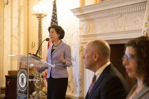 Gov. Gina Raimondo is moving forward with a bill tochange Rhode Island's name in state documents
