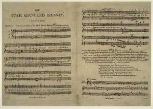 The American national anthem originally contained lyrics people find offensive and outdated, while the composer perpetuated slavery