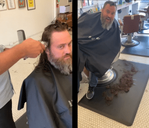 Willie Robertson before and after his haircut