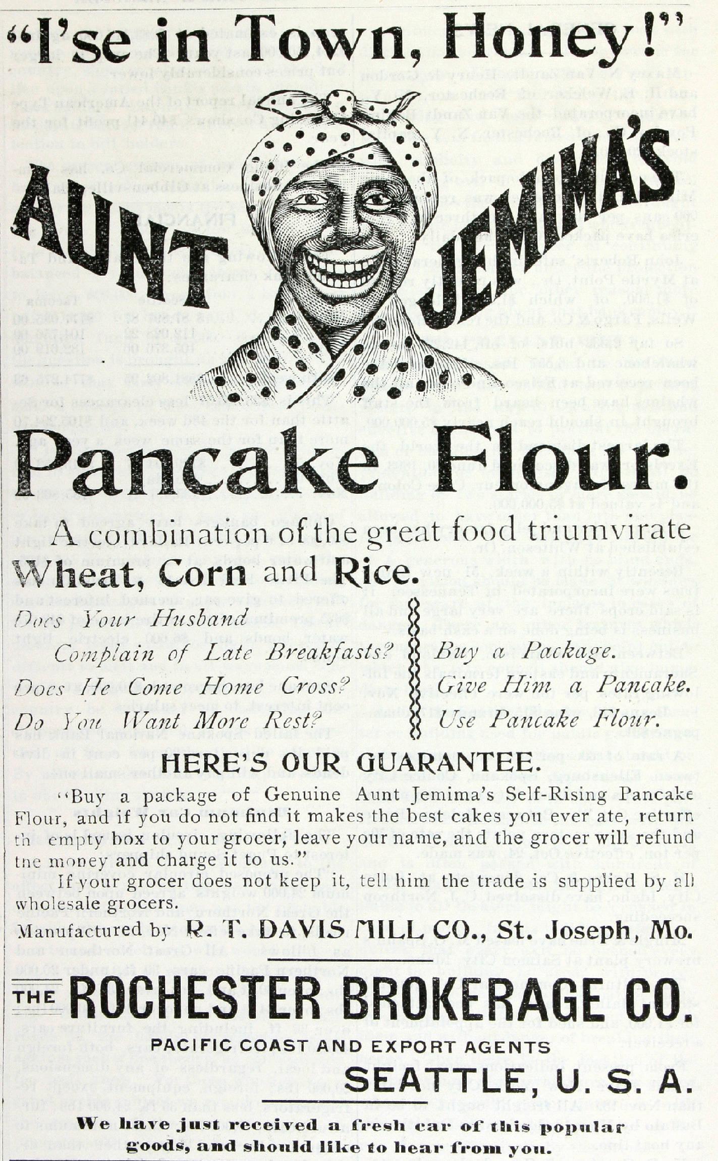 old aunt jemima ad for pancake flour