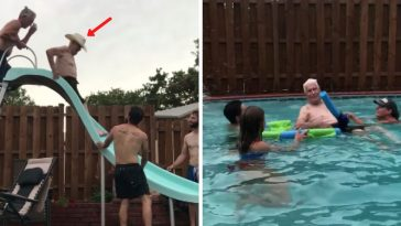 94-year-old grandpa flies down waterslide