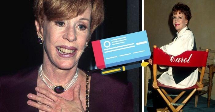 Carol Burnett reveals that a stranger wrote her a check to jumpstart her career