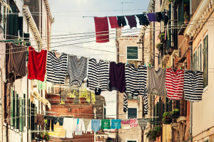 Clotheslines situated in cities involved a pulley system so people could access their clothes from the window