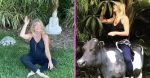 Goldie Hawn shows off her gorgeous garden and statues