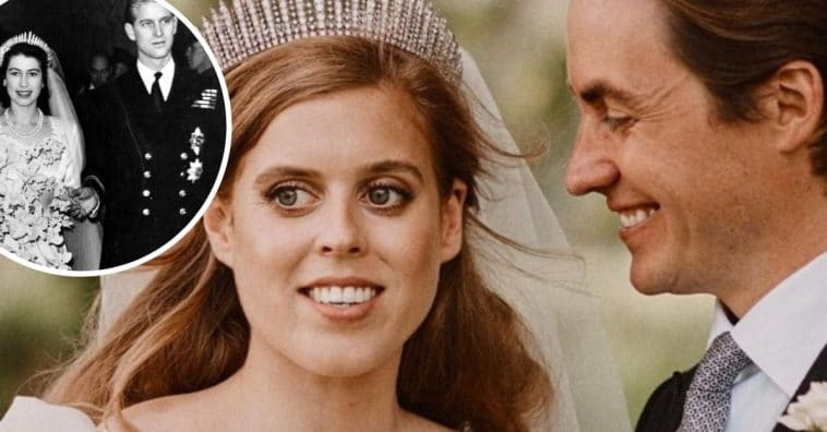 Princess Beatrice gown and tiara was from Queen Elizabeth on her wedding day