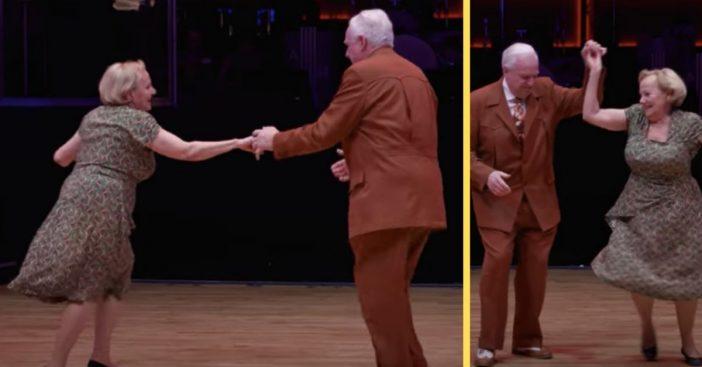 elderly couple tears up the dance floor