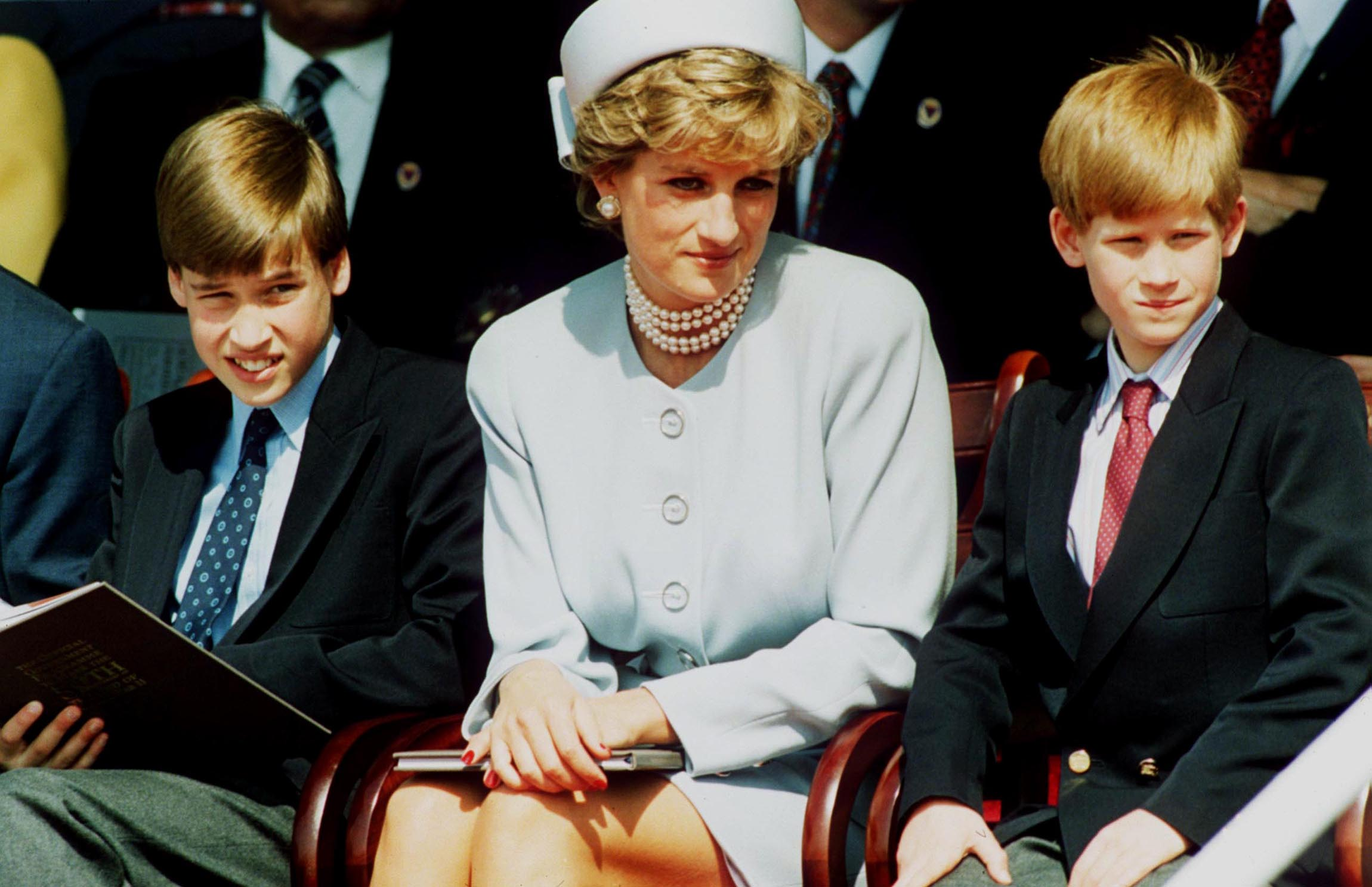 Princess Diana with sons Prince Harry and Prince William
