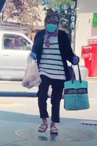 teen dressed up as a grandma wearing a mask to buy alcohol