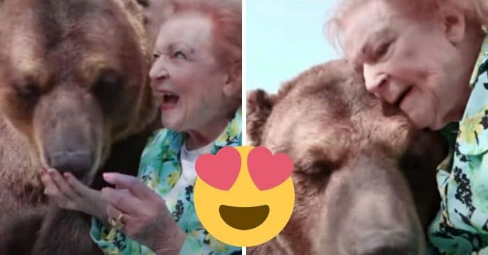 Betty White kisses and feeds big brown bear in video