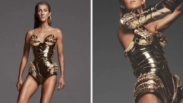 Celine Dion looks incredible in a vintage gold bodysuit