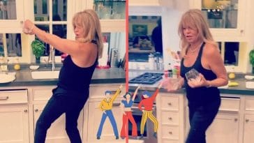 Goldie Hawn dances while doing dishes