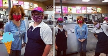 Reba McEntire visits a Braums Ice Cream location in her hometown