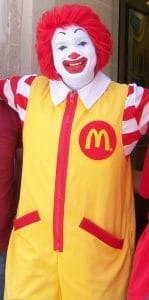 Ronald McDonald is retired but still present in the background