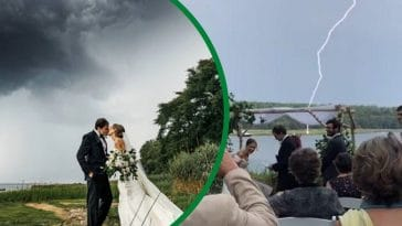 groom makes joke that 2020 isnt the best year and lightning strikes at wedding