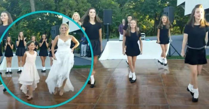 irish step dance team joins bride at wedding for performance