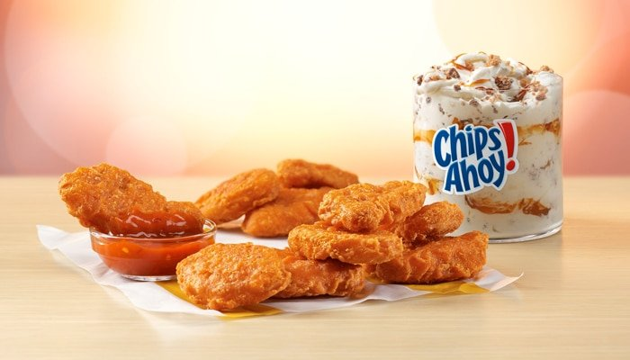 new spicy mcnuggets hot sauce and chips ahoy mcflurry