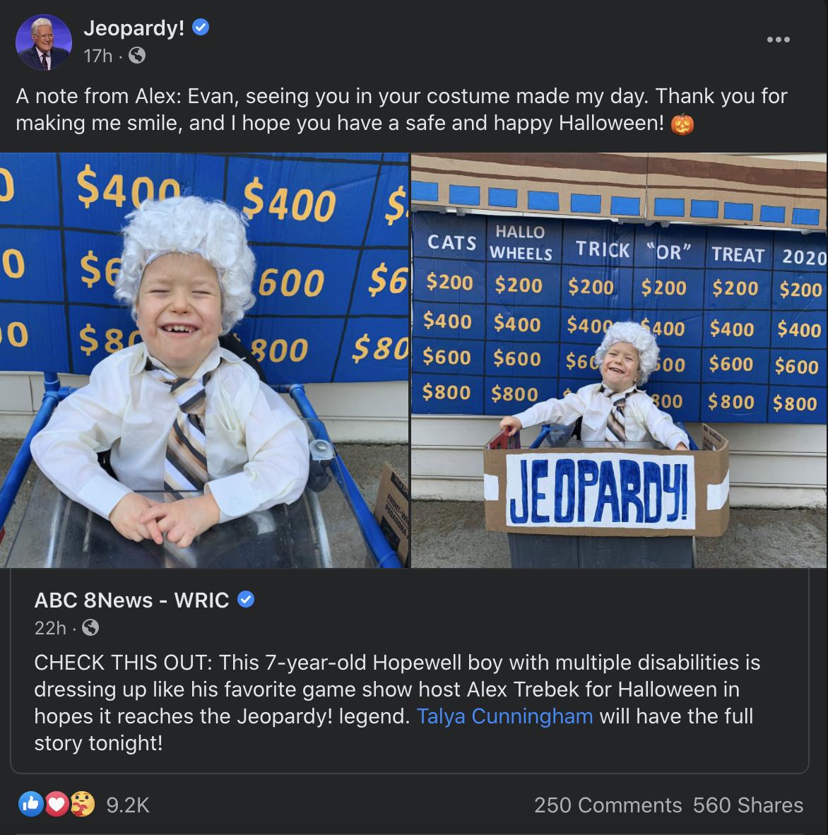 7-Year-Old 'Jeopardy!' Fan Dresses Up As Alex Trebek For Halloween, Gets Sweet Message In Return