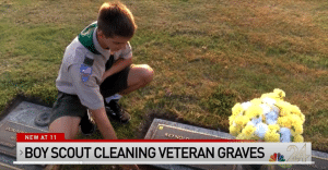 Andrew Baker cleans graves belonging to fallen veterans at the local cemetery / NBC screenshot