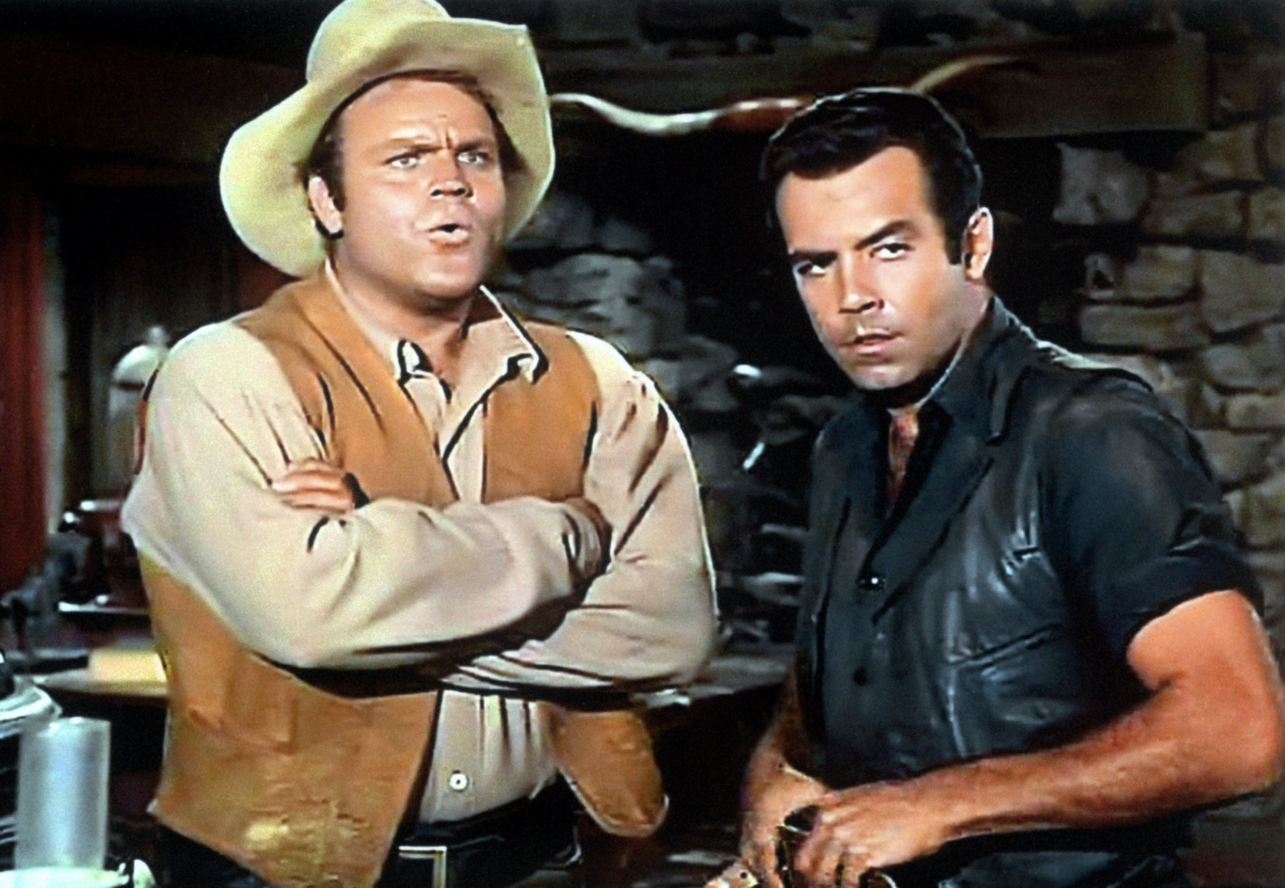 Dan Blocker and Pernell Roberts in Bonanza
