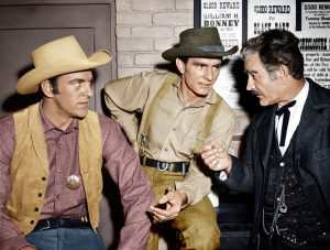 From left to right, James Arness, Dennis Weaver, Milburn Stone on Gunsmoke