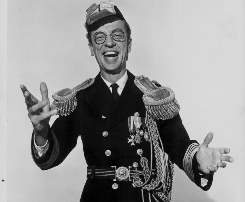 Don Knotts wearing a formal dress uniform circa 1950-1960