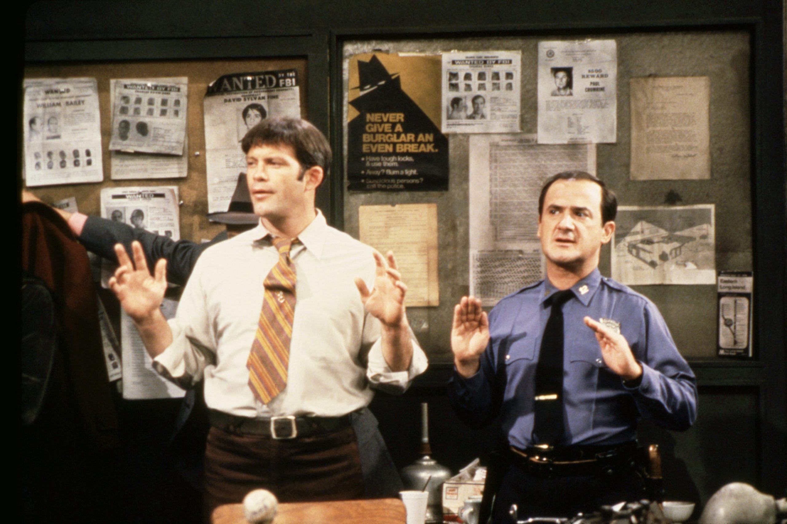 Max Gail and Ron Carey in Barney Miller, 1982