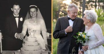 couple celebrates 60th anniversary in old wedding attire