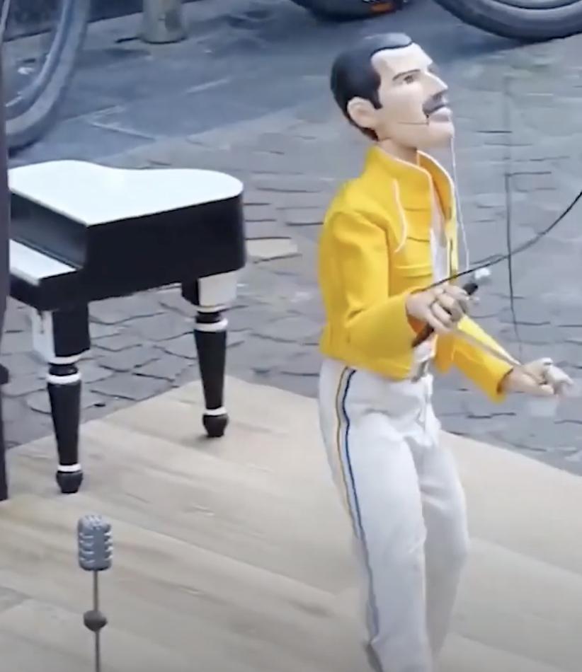 Freddie Mercury marionette puppet show