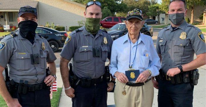 police officers help veteran celebrate 100th birthday