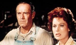 Henry Fonda and Maureen O'Hara as Clay and Olivia Spencer in Spencer's Mountain