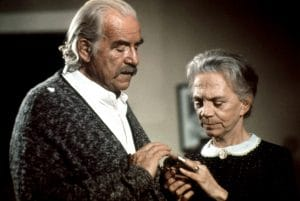 Will Geer and Ellen Corby as Grandpa and Grandma Walton