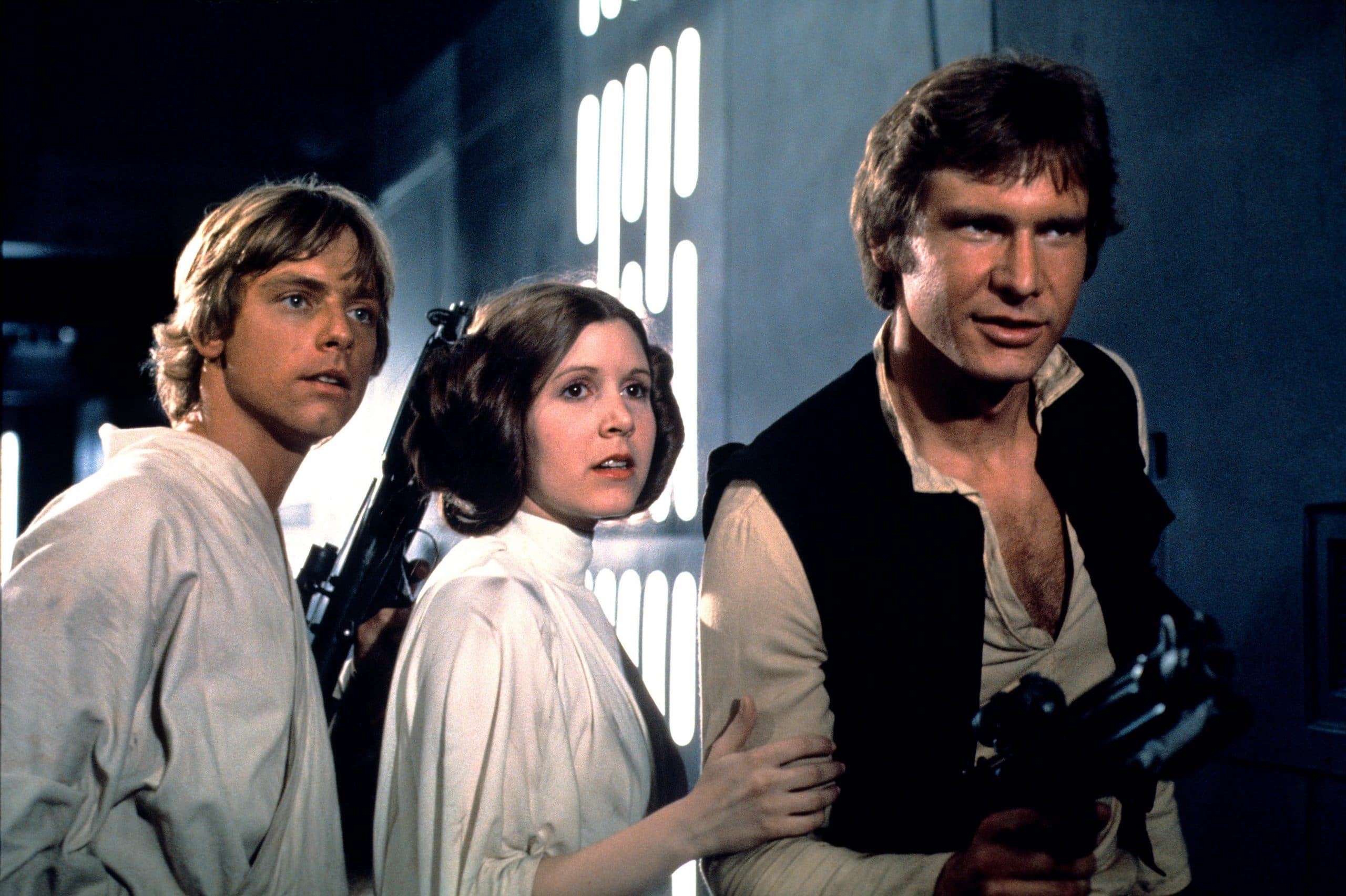 STAR WARS, (aka STAR WARS: EPISODE IV - A NEW HOPE), Mark Hamill, Carrie Fisher, Harrison Ford