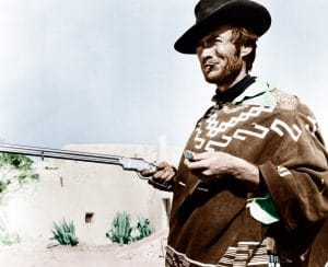 Clint Eastwood wearing his iconic Dollars Trilogy poncho