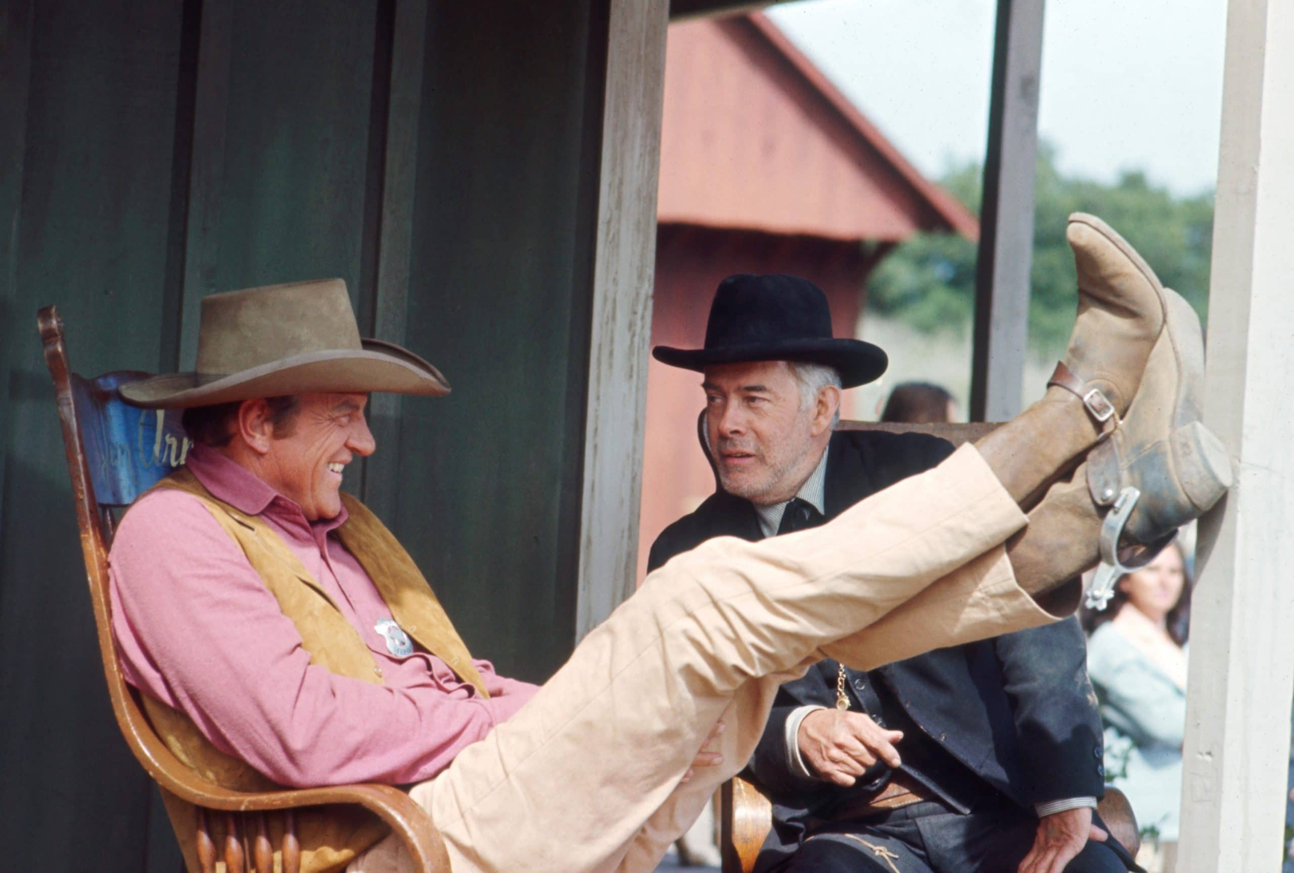 GUNSMOKE, from left: James Arness, Harry Morgan