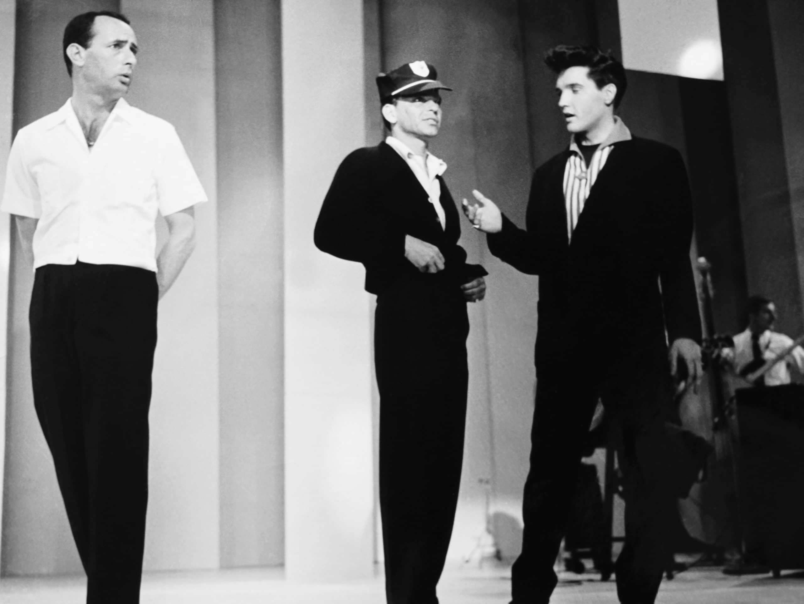THE FRANK SINATRA TIMEX SHOW, from left: Joey Bishop, Frank Sinatra, Elvis Presley in rehearsal,