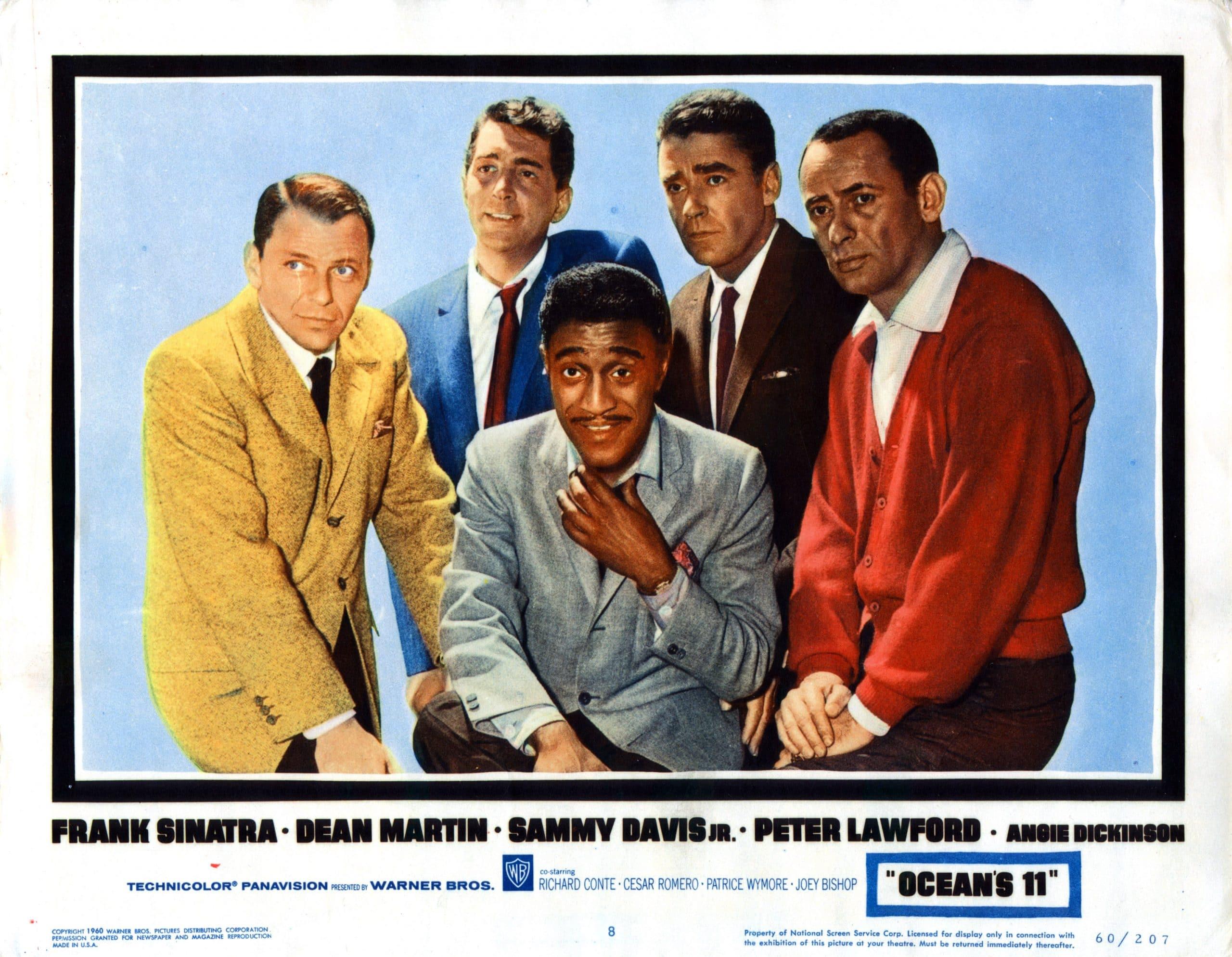 OCEAN'S ELEVEN, (aka OCEAN'S 11), from left, Frank Sinatra, Sammy Davis, Jr., Dean Martin, Peter Lawford, Joey Bishop, 1960