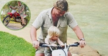 robert irwin recreates steve irwin's motorbike photo