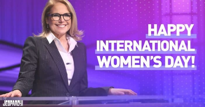 Katie Couric hosts Jeopardy on International Womens Day