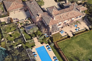 A satelite image of the California mansion owned by Prince Harry and Duchess Meghan