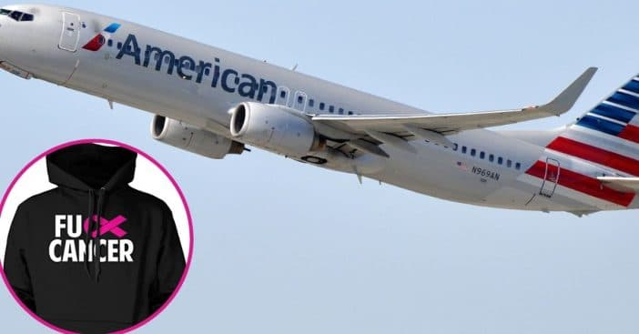 American Airlines Makes Cancer Survivor Cover Up Sweater Celebrating Recovery